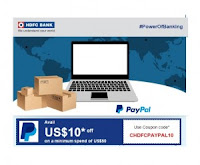 Paypal 10$ off on 50$ using HDFC Credit Card