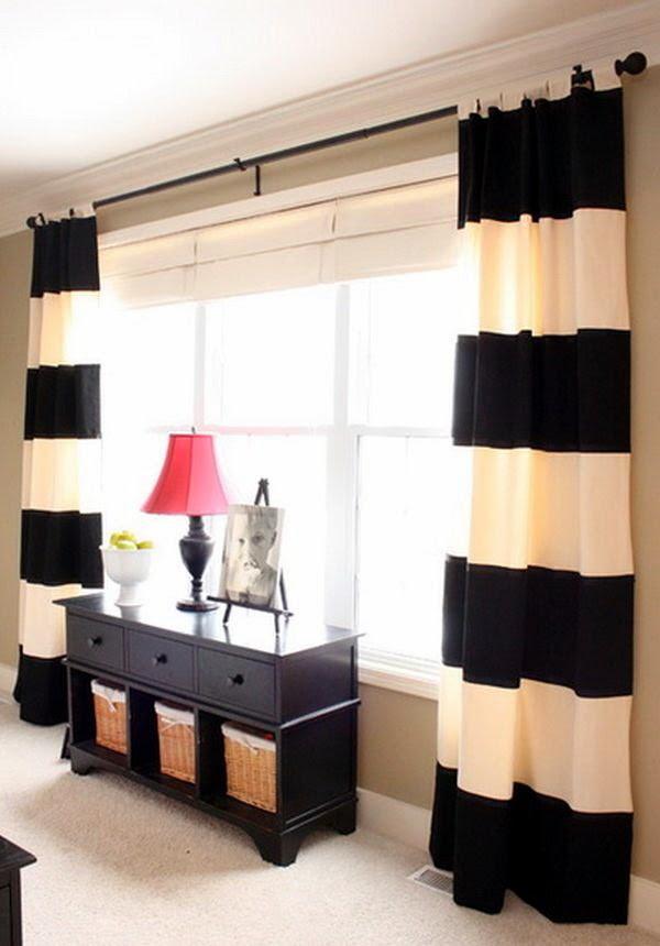 Rèm cửa kẻ ngang thích hợp cho căn phòng có chiều cao lý tưởng và diện tích rộng rãi.