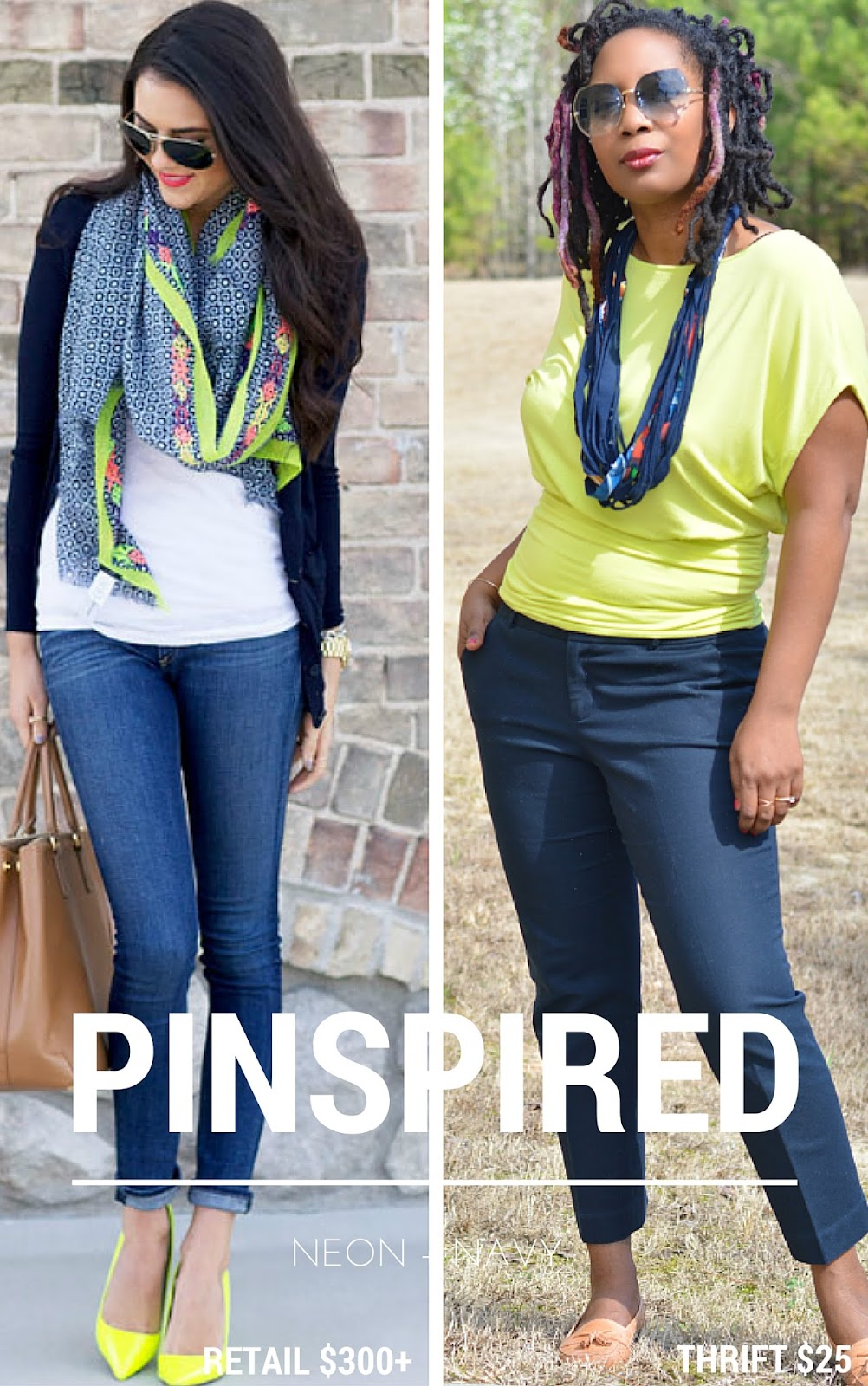 A Pinterest inspired thrift store outfit in neon and navy.