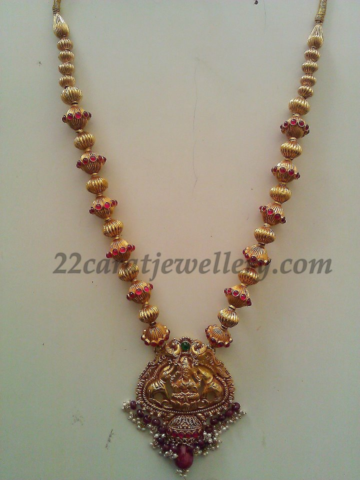 Ruby and Pearl Beads Lakshmi Long Set - Jewellery Designs