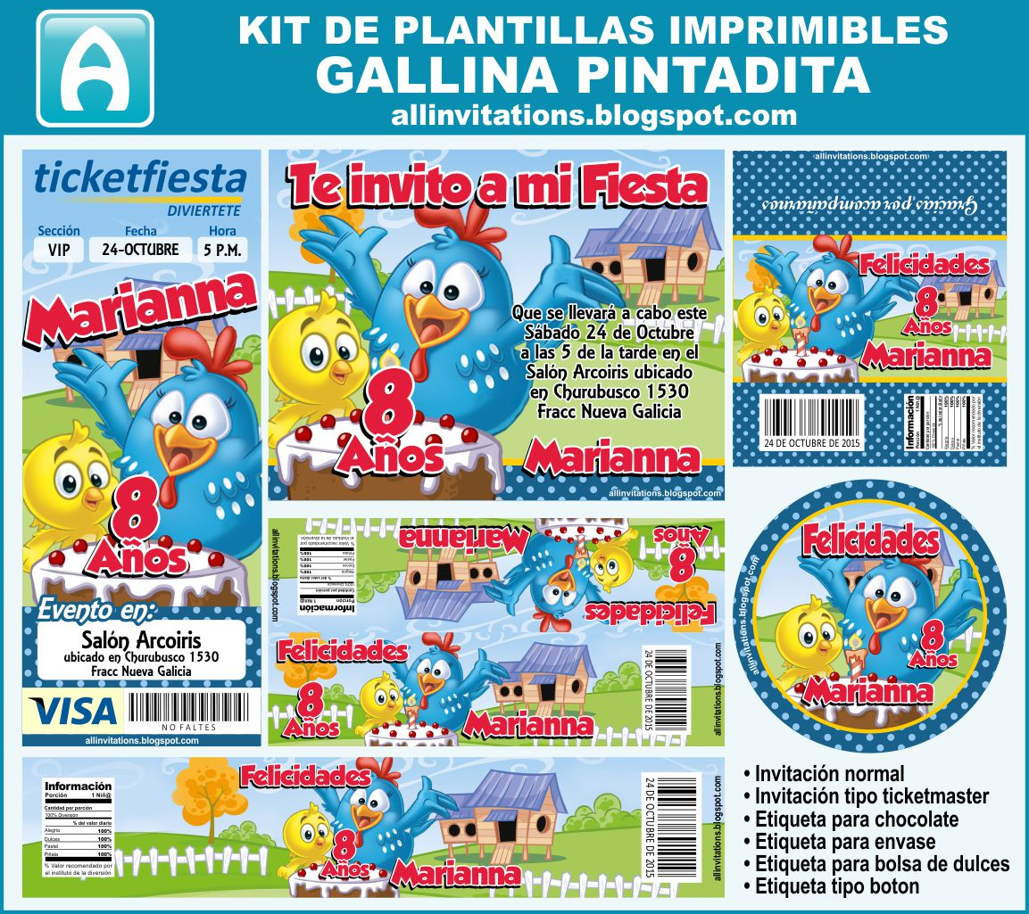 Kit Imprimible Gallina Pintadita | All Invitations