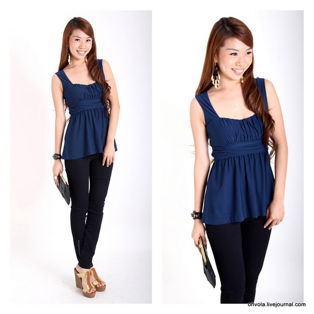 mayCloset - Tops: OHVOLA EMPIRE PLEATED TOP
