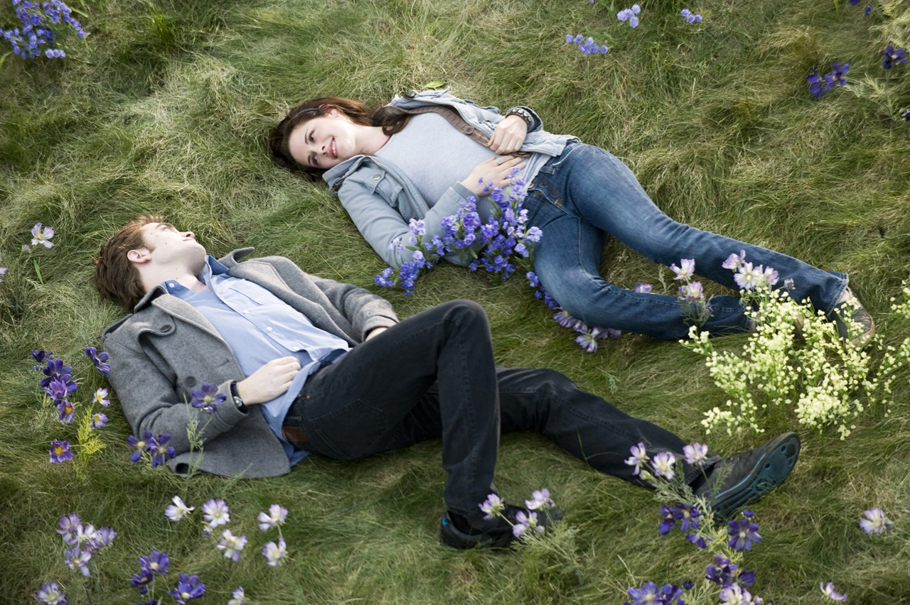 Love Couple Lying On Grass And Flowers HD Wallpaper