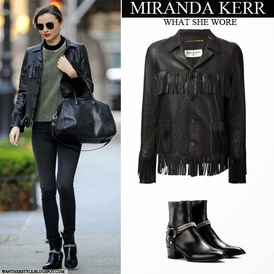 Miranda Kerr in black leather fringe jacket, black skinny jeans with black ankle silver chain boots Want Her Style
