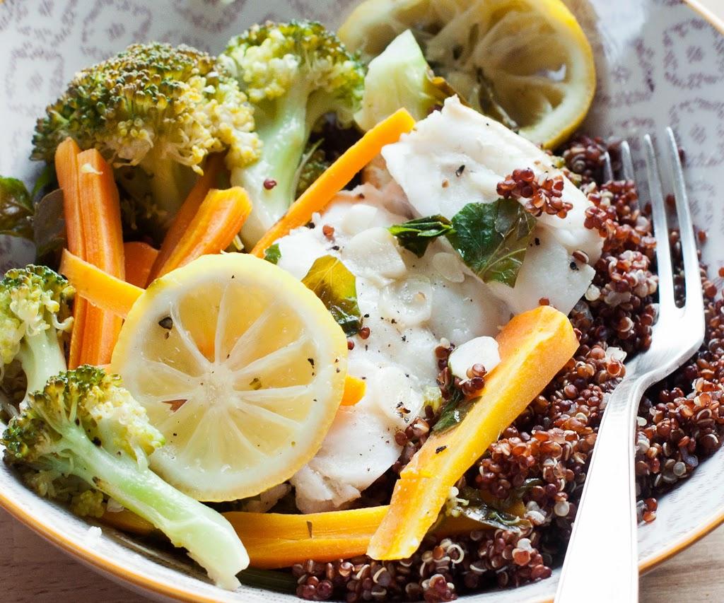 Karotte, Brokkoli, Petersilie, Zitrone, Knoblauch, Pfeffer, Salz, Quinoa, Fisch, gesund,