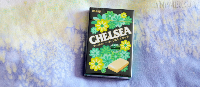One of the Japanese snacks included in the September 2015 Skoshbox DEKAbox was a pack of Meiji Chelsea yogurt candy, a sweet, creamy snack that tastes like scotch candy.