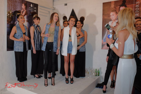 Fashion designers Jessie and Tika with dancers, Wolftress WE ARE WARRIORS, VIP Launch 2015
