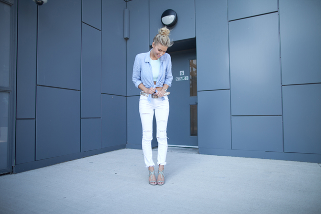 Gestuz White Jeans, 7 For All Mankind Chambray, Aritzia Halter tank, Pour La Victoire Pumps, Brave Leather belt