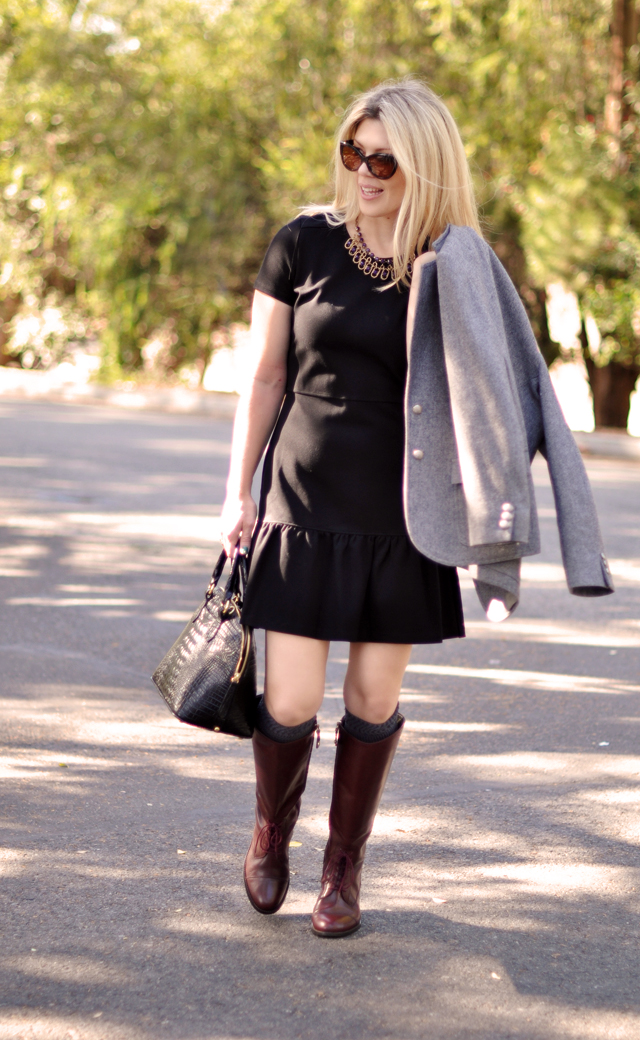 drop waist dress, oxblood riding boots