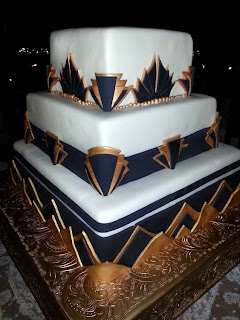 Madeleine's European Cake - Art Deco Cake   Ceremony officiated by Kent Buttars, Seatte Wedding Officiants
