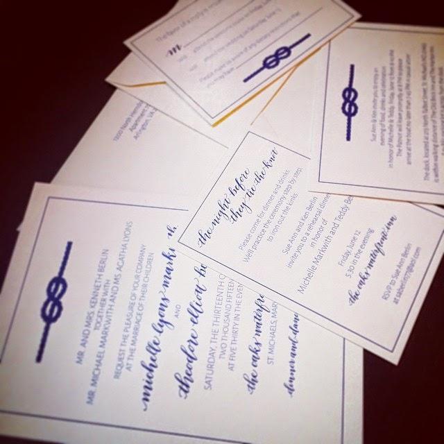 charlottesville wedding calligraphy nautical