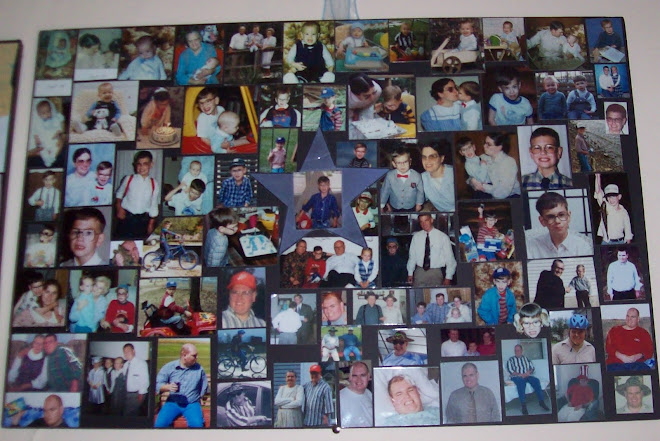 Collage of son, laminated pics. on large piece of black foam!