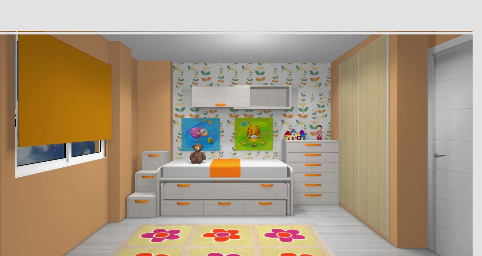 Zona de capacidad con puertas y cajones con mesa de - Escalera cama infantil ...
