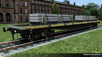 Fastline Simulation: A YLA Mullet in faded engineers livery carrying a load of concrete panels.