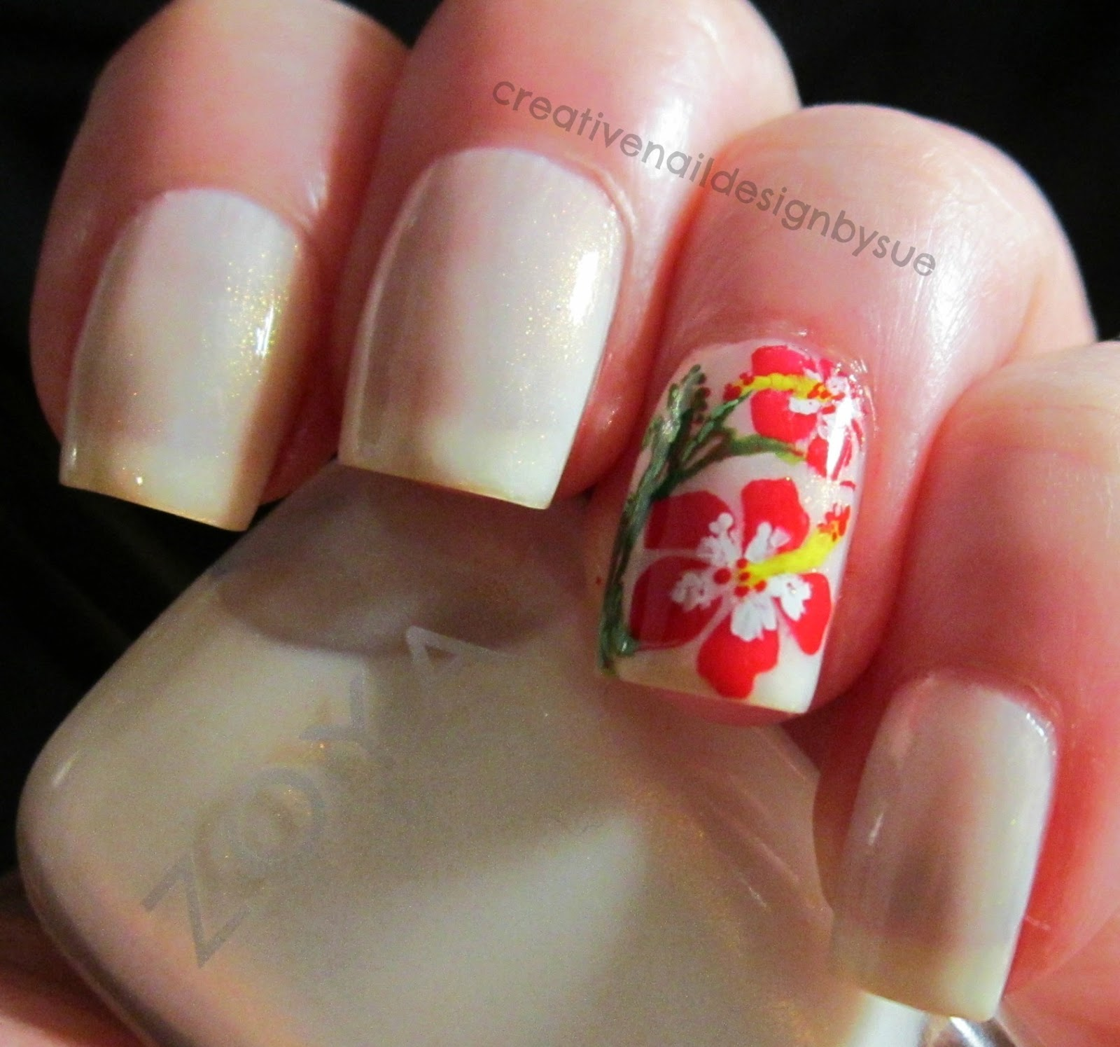 Creative nail design by sue nail challenge collaborative hibiscus as a base and i stamped an accent nail with bm318 in zoya sooki i used some other colors to add some details and make it have a little more 3d effect izmirmasajfo