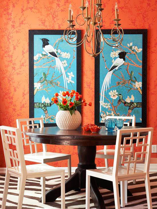 Modern furniture add worm orang to you home 2012 ideas for Teal dining room decorating ideas