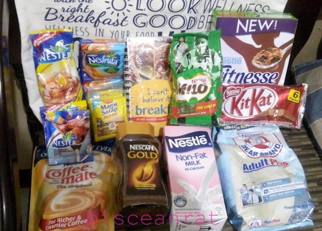 Nestea Iced Tea, Nesfruta, Milo R2, Fitnesse, KitKat, Bear Brand, Nestle Milk, Nescafe Gold, Coffee-mate, bag and recipe book, magic sarap,