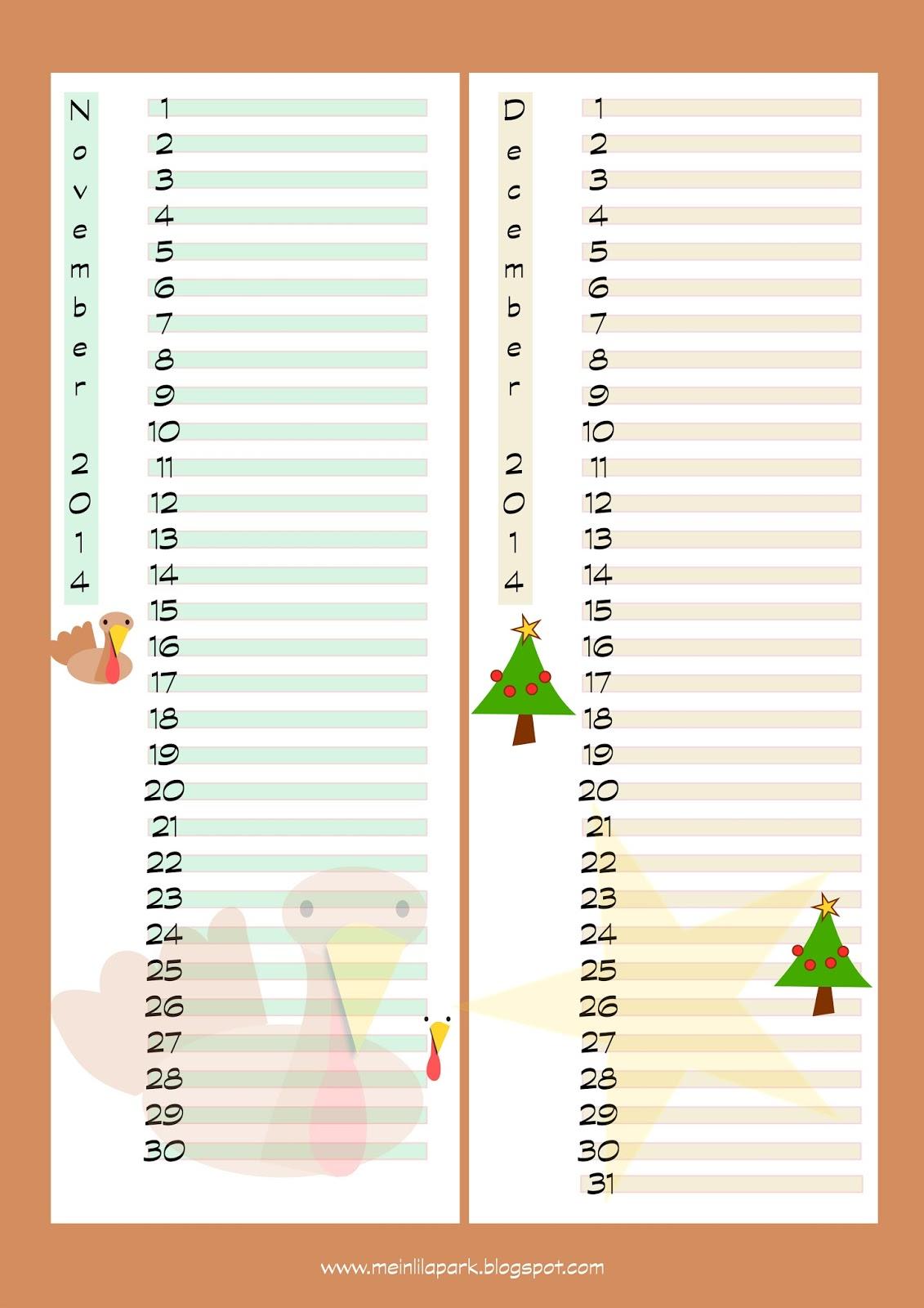 Free printable 2014 calendar planners - ausdruckbare Kalender