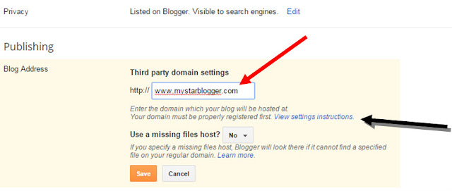 set blogger blog to custom domain