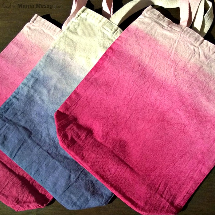 Ombre Dip-Dyed Shopping Bags. See the tutorial here: