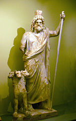 Greek God Hades with his three headed guard Cerberus.