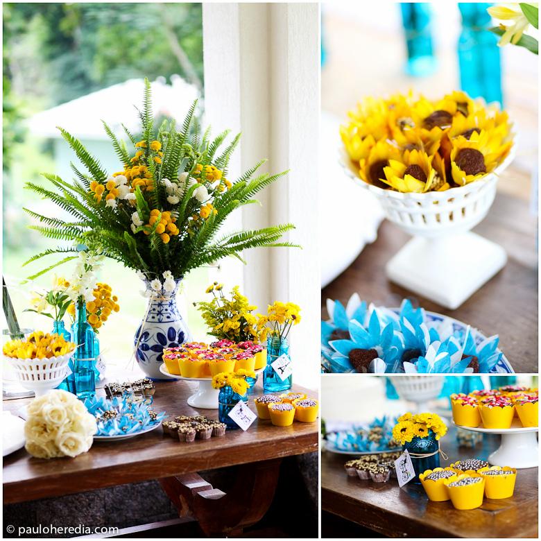 decoracao cha bar azul e amarelo