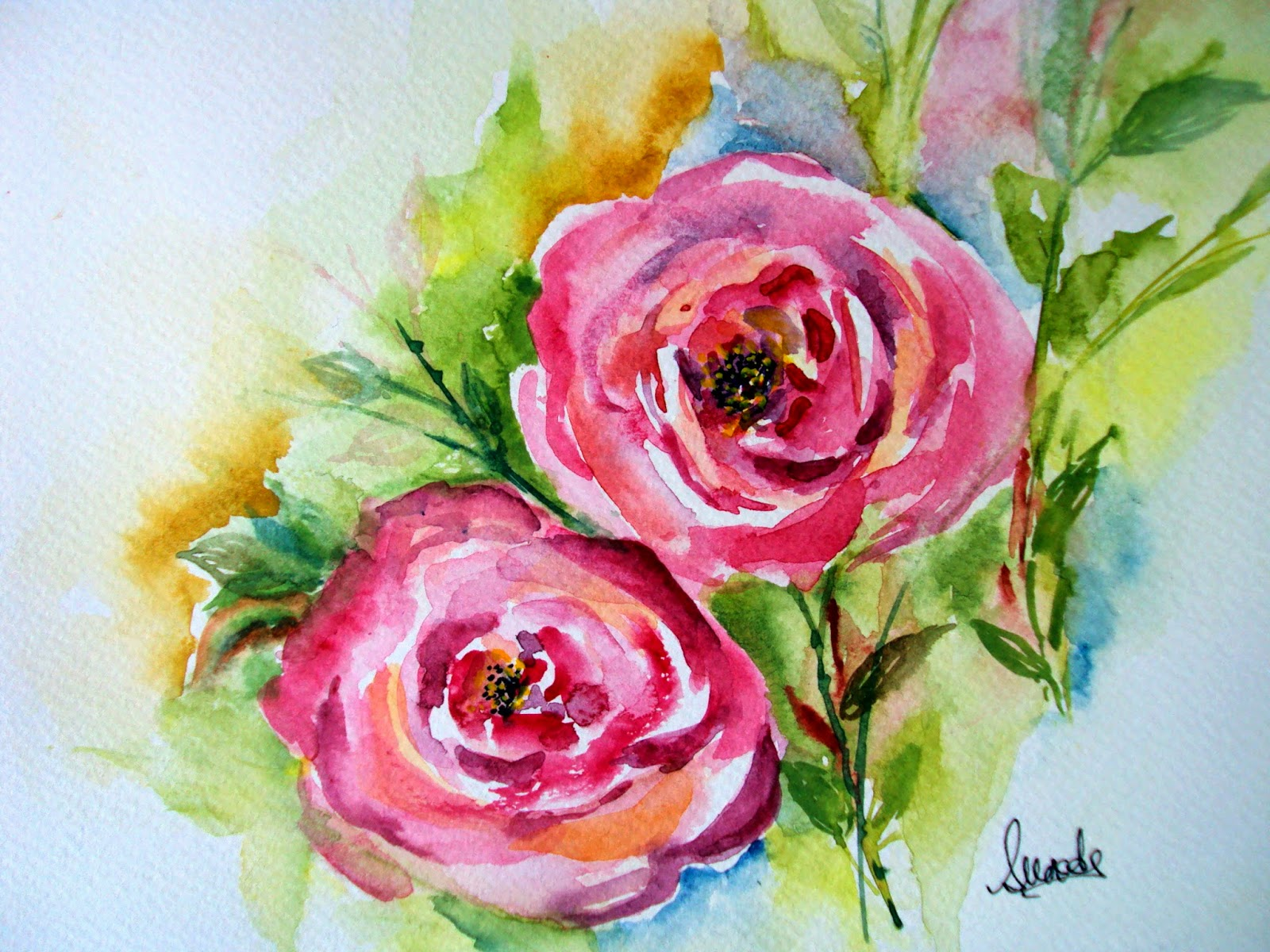 pink roses,flowers,twin,watercolour,painting,artist,floral,decor,art,singhroha,watercolor, rose,