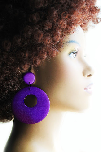 large purple african wood hoop earrings