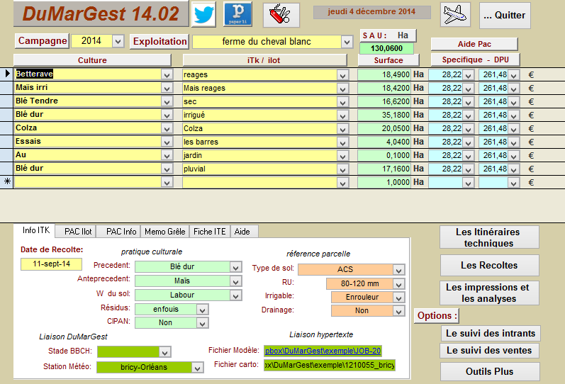 copie écran de l'enregistrement des pratiques avec le logiciel DuMarGest