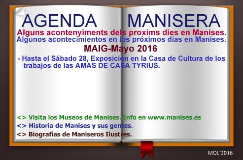 AGENDA MANISERA, SEMANA 21 DE 2016