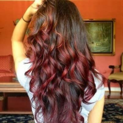 coloration des pointes pour cheveux longs couleur cuivre, mode coiffure 2014
