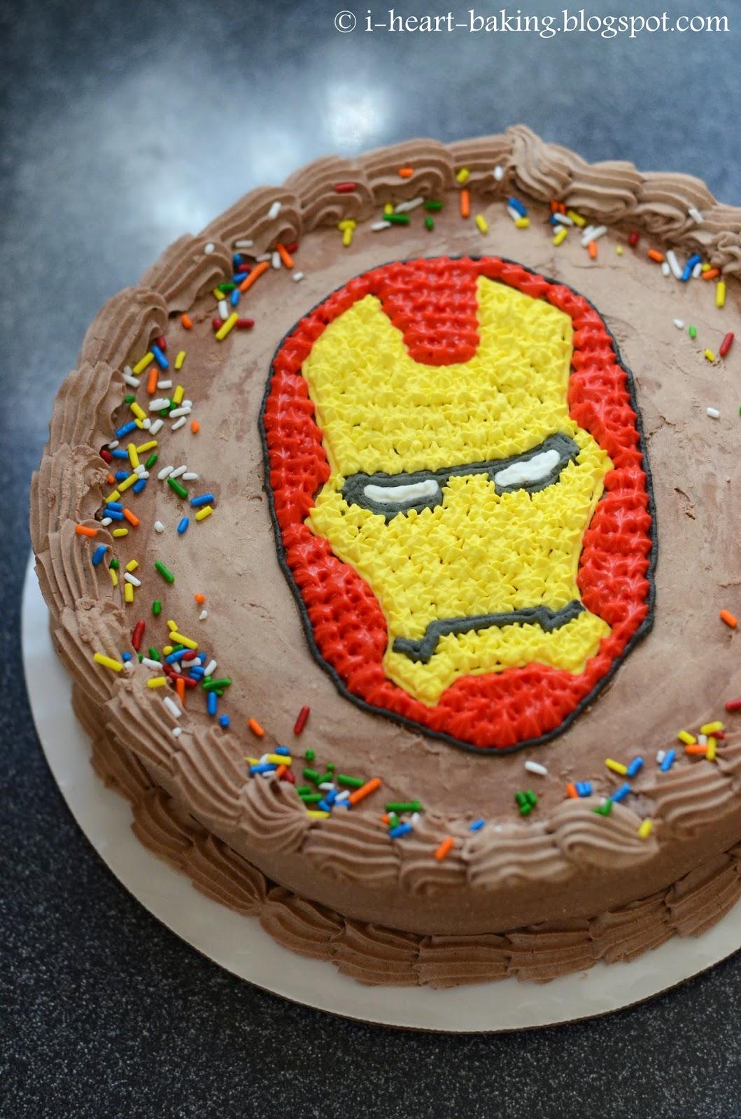 i heart baking iron man birthday ice cream cake