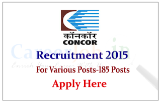 Container Corporation of India Recruitment 2015 for the posts of Supervisors and Various posts
