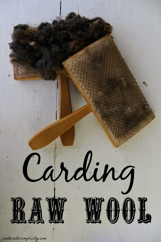 Carding Wool, shared by A Return to Simplicity