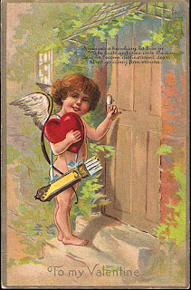 antique embossed valentine postcard post card with cherub and heart