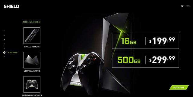 Captura de la página de la consola NVIDIA SHIELD, con modelos de 16 y 500 GB