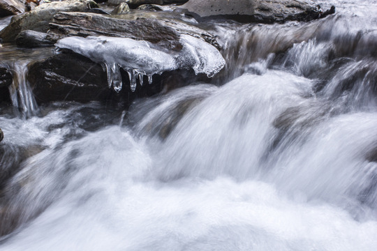 Brook trout stream in winter in the Smokies