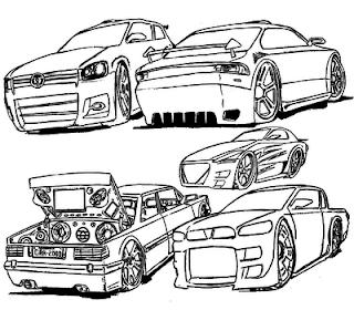 Desenhos Preto e Branco carros para Colorir