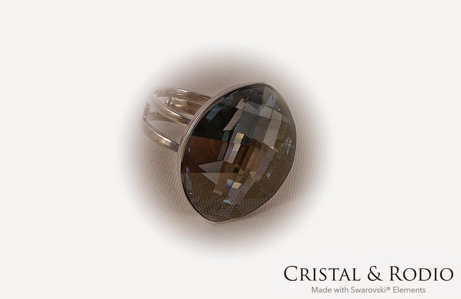 Anillo con cristales de swarovski i sin garra cristal y for Anillos de rodio precio