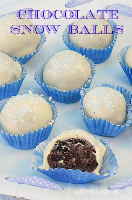 A 2 Ingredient filling makes these Chocolate Snow Balls quick & easy to make - delicious and a perfect edible Christmas gift idea