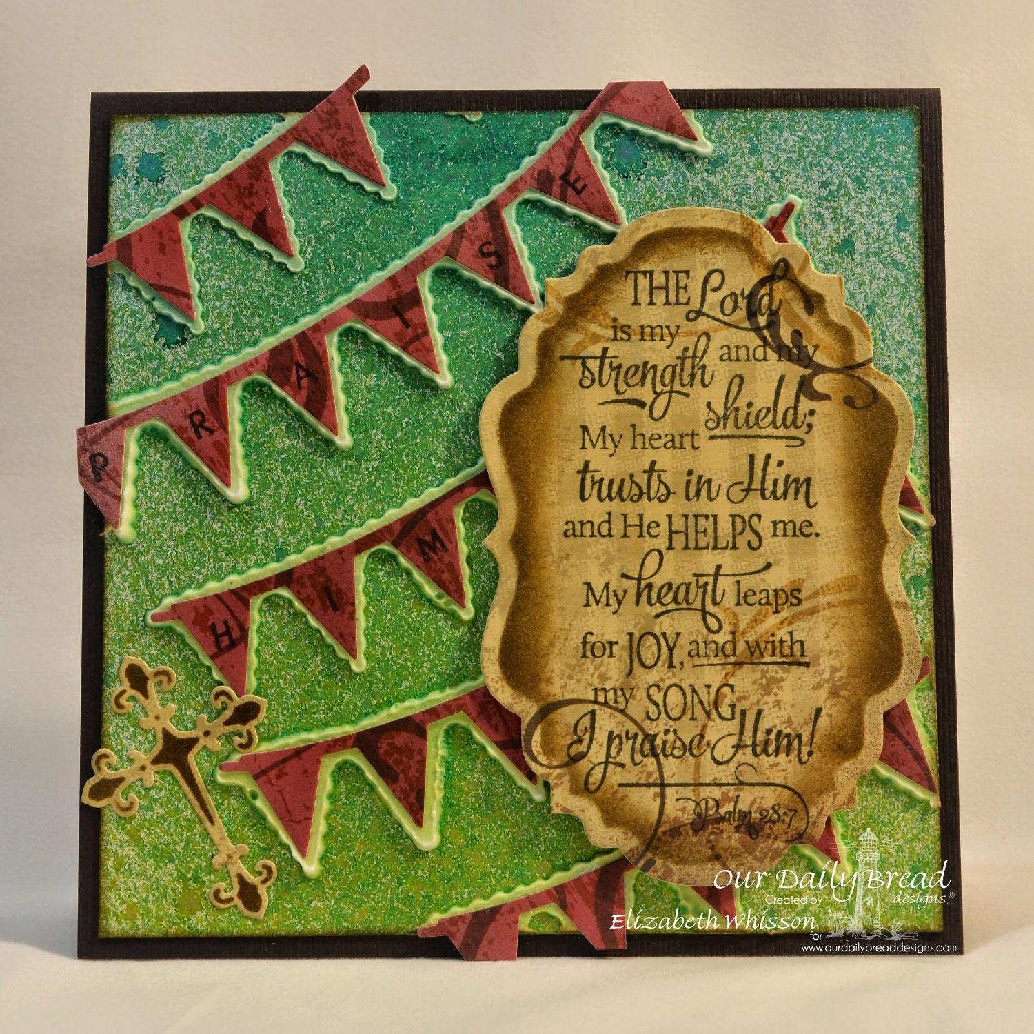 Our Daily Bread Designs, Pennant Swag Alphabet, Scripture Collection 13, Pennant Row Dies, Vintage Labels Dies, Ornamental Crosses Dies, Christmas Paper Collection 2013, designed by Elizabeth Whisson, texture paste, mixed media, handmade card, Psalm 28:7, christian
