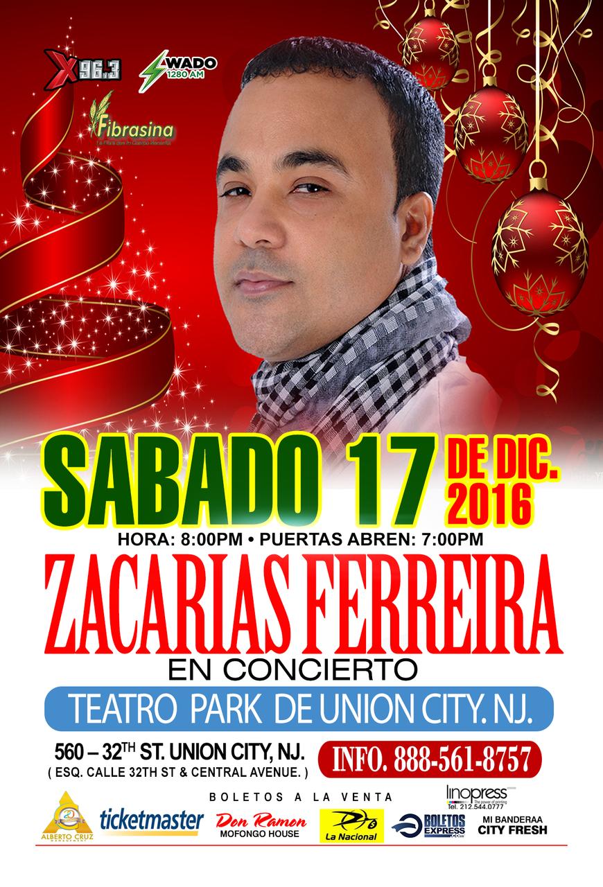 ZACARIAS FERREIRAS EN CONCIERTO - TEATRO PARK DE UNION CITY.N.J.