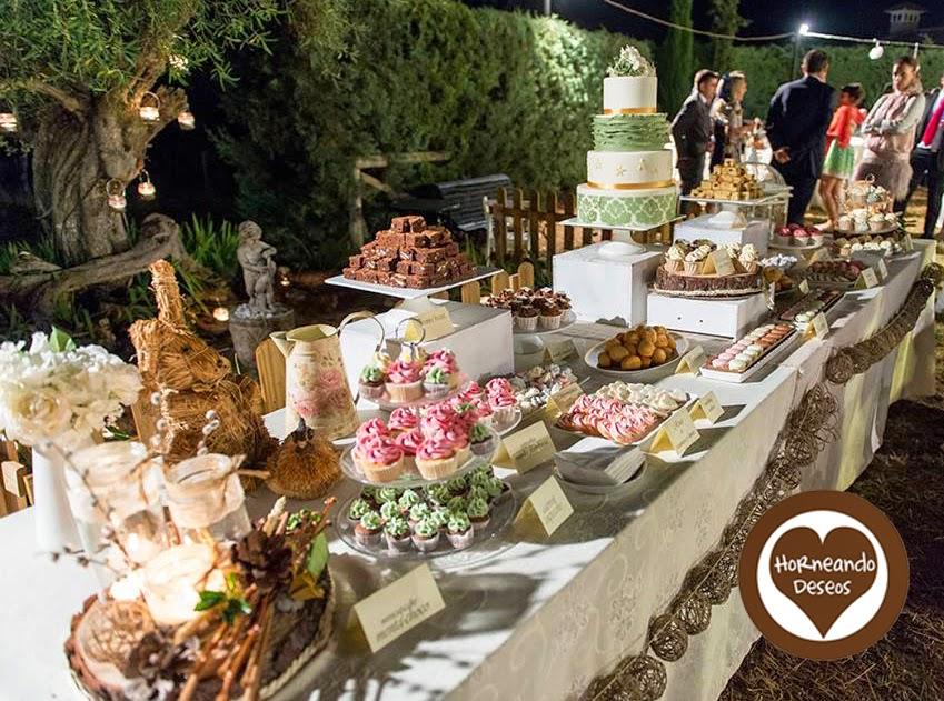 Mesa dulce para una boda en el campo - Mesa de campo ...