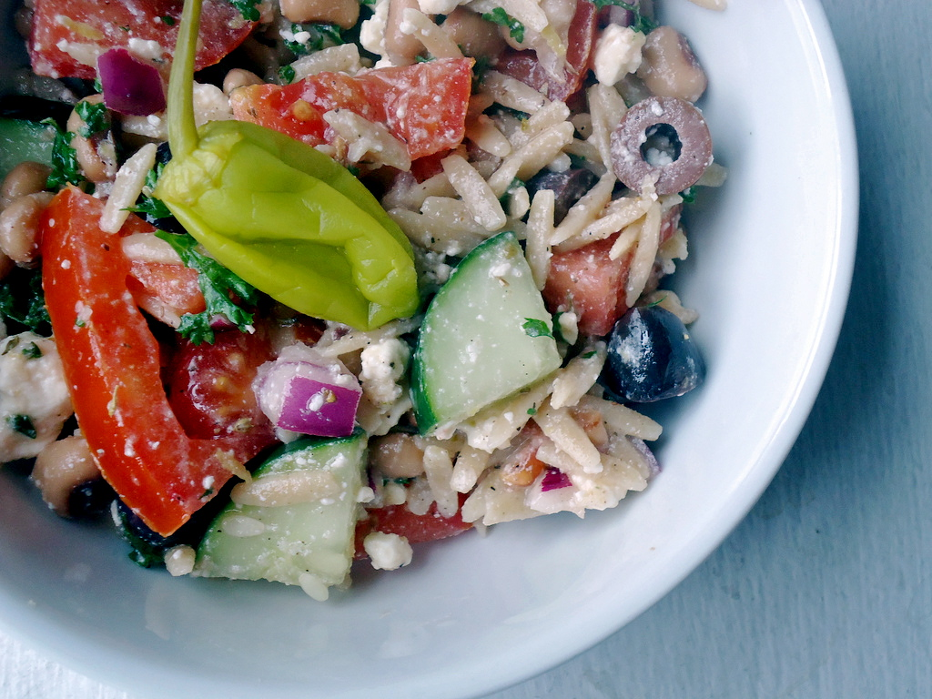 lish: Greek Salad with Orzo & Black-Eyed Peas