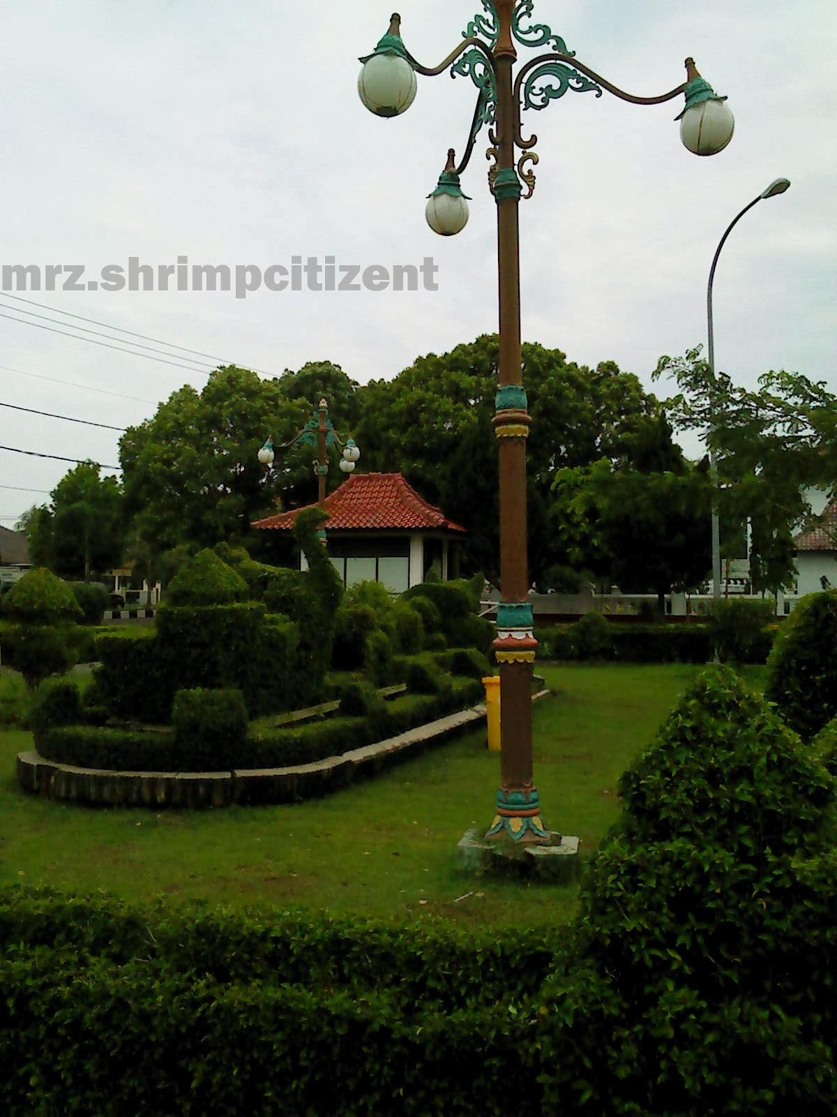 Pagar hidup dan lampu old style taman Pataraksa Sumber Crb
