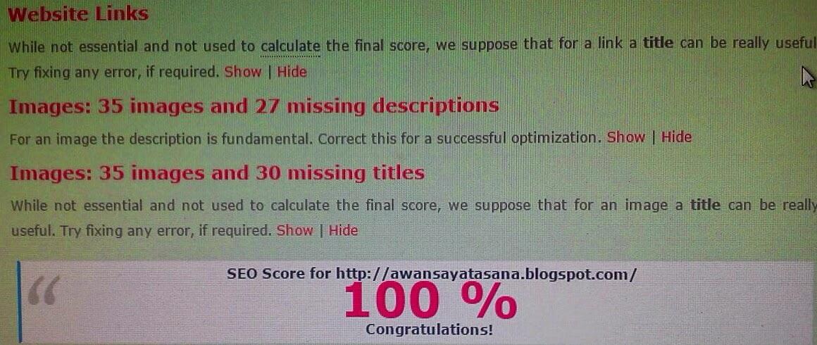 Periksa skor SEO blog dengan Chkme