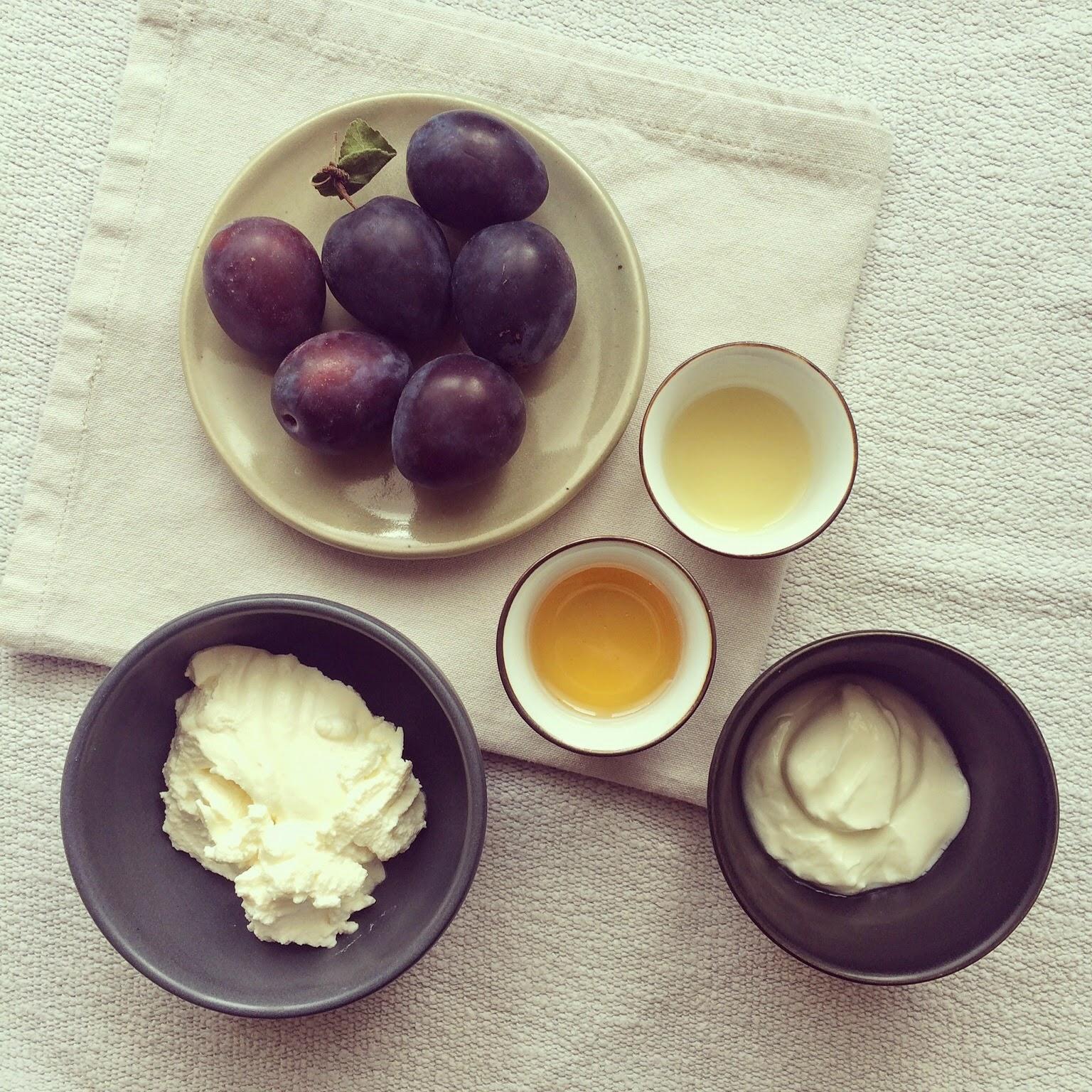 prunes rôties miel ricotta