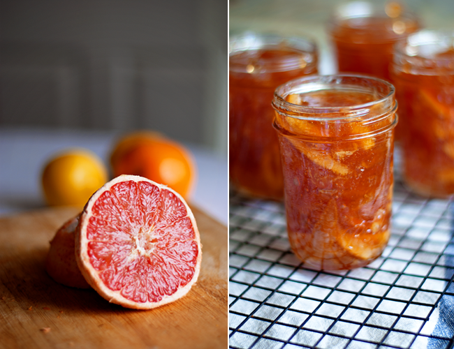 diptych of red grapefruit and finished Three Fruit Marmalade