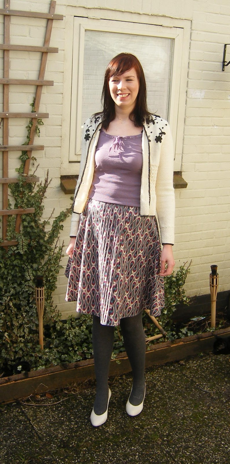 Skirt and embroidered cardigan made by Anthea