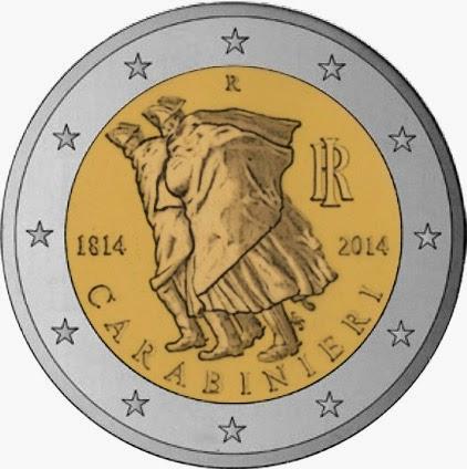 2 Euro Commemorative Coins Italy 2014, Anniversary Arma dei Carabinieri